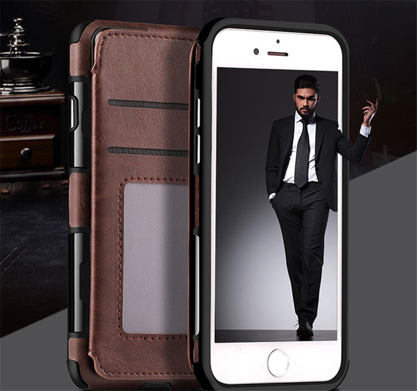 Magnetic Clip Purse Case Cover Protective Credit Card Leather Flip Cover Wallet Case for Apple iPhone X