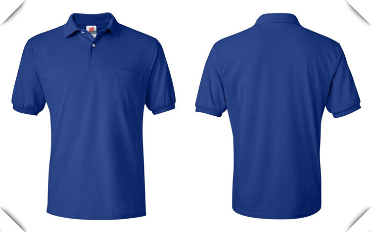 Pique 100 cotton mens blank polo sport shirt with pocket for Plain navy polo shirts