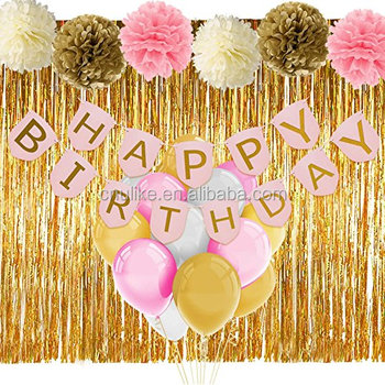 Pink And Gold Birthday Decorations Set Banner Balloons Curtain Girls 1st Party Supplies Kit Baby