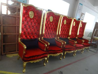 Red Wedding Furniture , High Back Luxury Chair , Hotel Hallway Chair Sofas