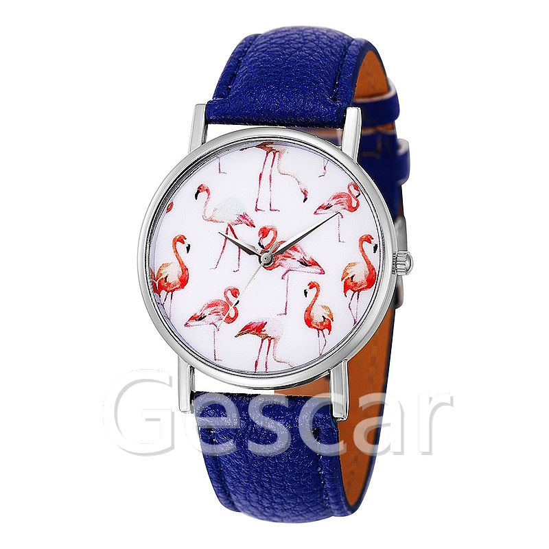 8206 new arrival pink swan silver case casual lady leather watch No logo watch