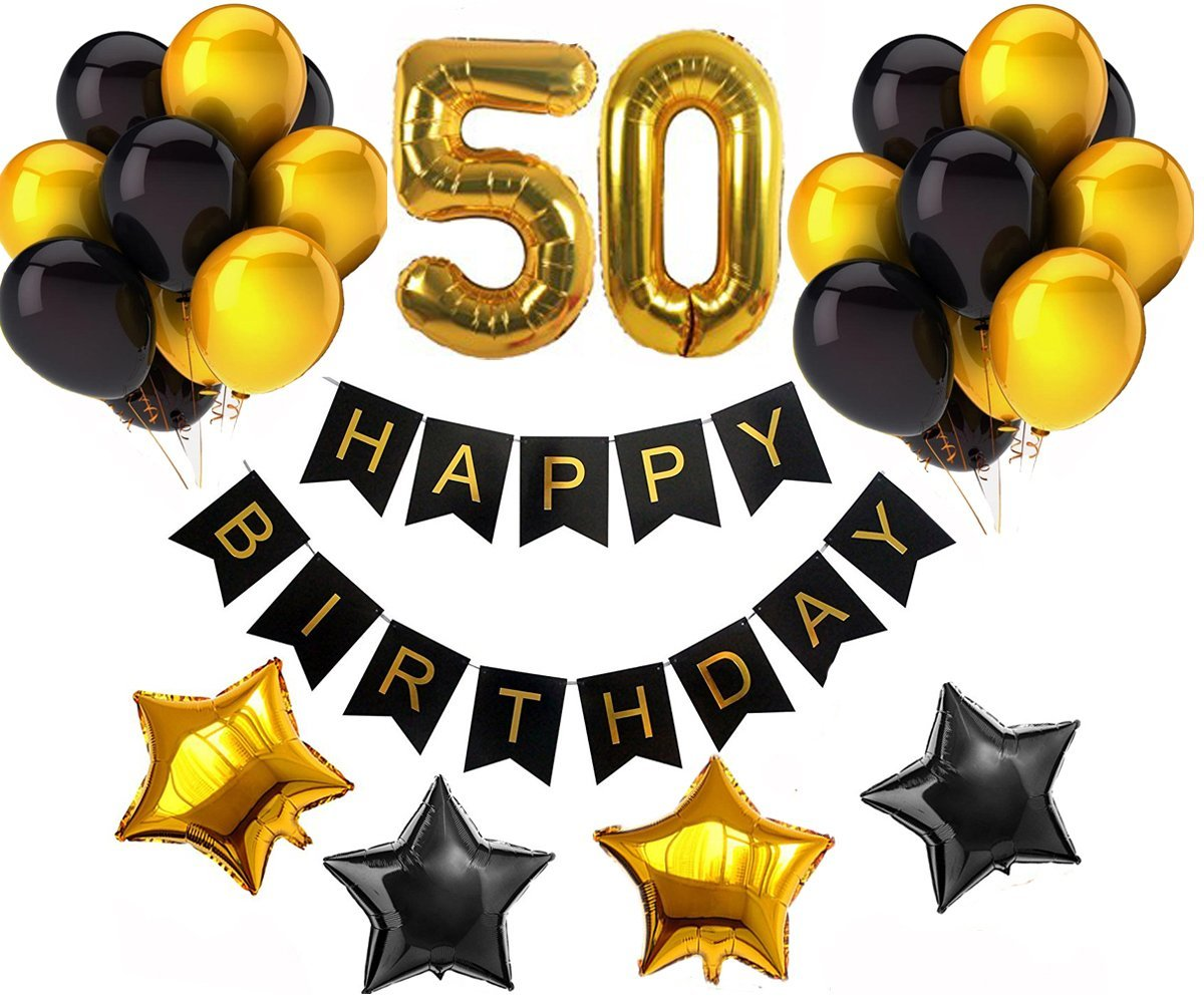 50th Happy Birthday Banner Decorations Kit Party Supplies Golden