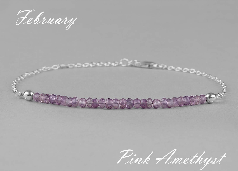 Amethyst Bracelet Jewelry Gift For Her Mom, Amethyst Jewelry, Pink Amethyst Bracelet, Anniversary Gift For Girlfriend, Christmas Gift, February Birthstone