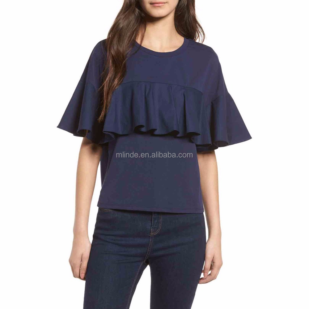 OEM Wholesale Custom Made in China Home Women Tops Tees with Ruffle Details Wholesale Custom