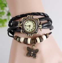 relogio feminino Original High Quality Women Leather Vintage Watches Bracelet Wristwatches butterfly Pendant Dress Watches