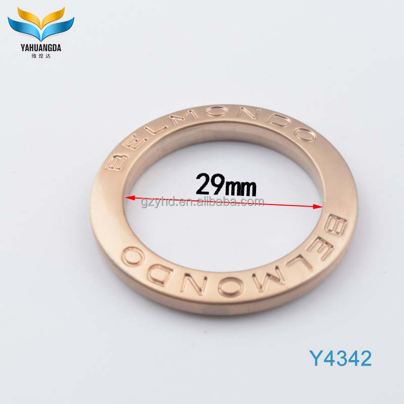 high quality shiny gold color flat logo oval handbag metal spring o ring for handbags fittings/webbing