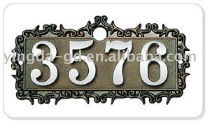 4 numbers house plate/door plate with fancy border