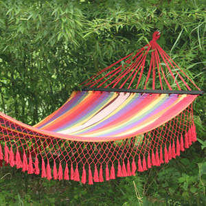 Outdoor Rocking Cotton Canvas Hammock with Macrame