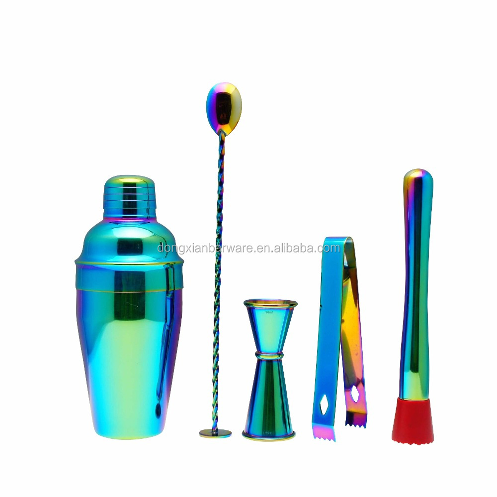Stainless Steel Cocktail Shaker Set, Iridescent Bartender Cocktail Shaker Set, Rainbow Cocktail Shaker Set