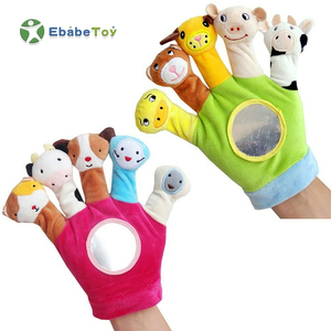 OEM Factory Full Hands Plush Baby Animal Hand Finger Puppets New Born Baby Finger Puppet Glove Educational Story Toys Puppets