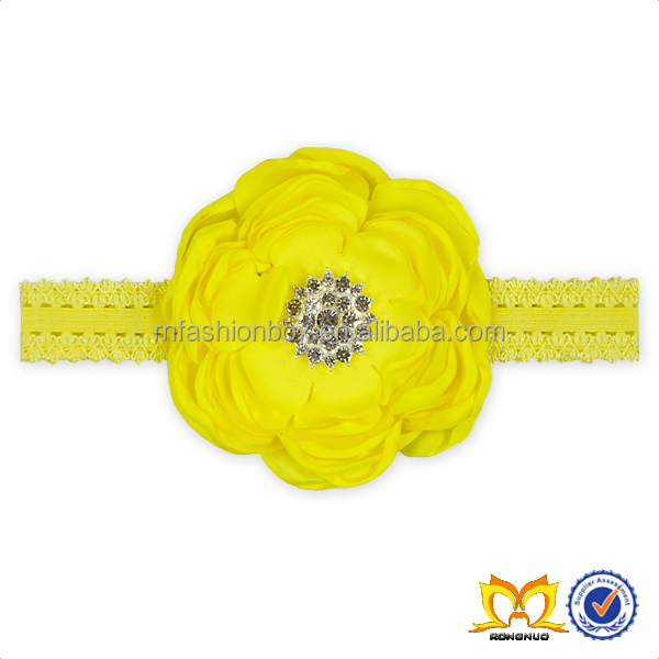Adjustable Yellow Flower elastic Headbands For Baby Girls Cheap Girl Headbands