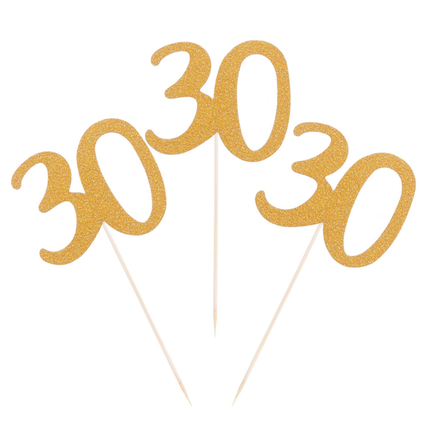 Get Quotations Donoter 50 Pcs 30th Birthday Cupcake Toppers Number 30 Gold Glitter Cake Picks For Anniversary Party