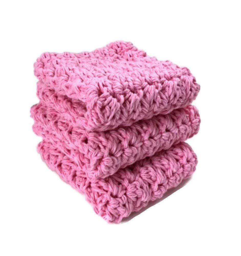 Handmade Cotton Kitchen Dish Cloths Wash Cloths Pastel Pink Crochet Kitchen Dishcloths Set of 3