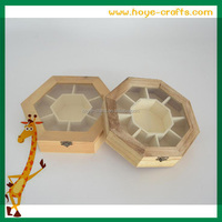 Handcrafted souvenirs tea gift box wooden tea storage box with glass top