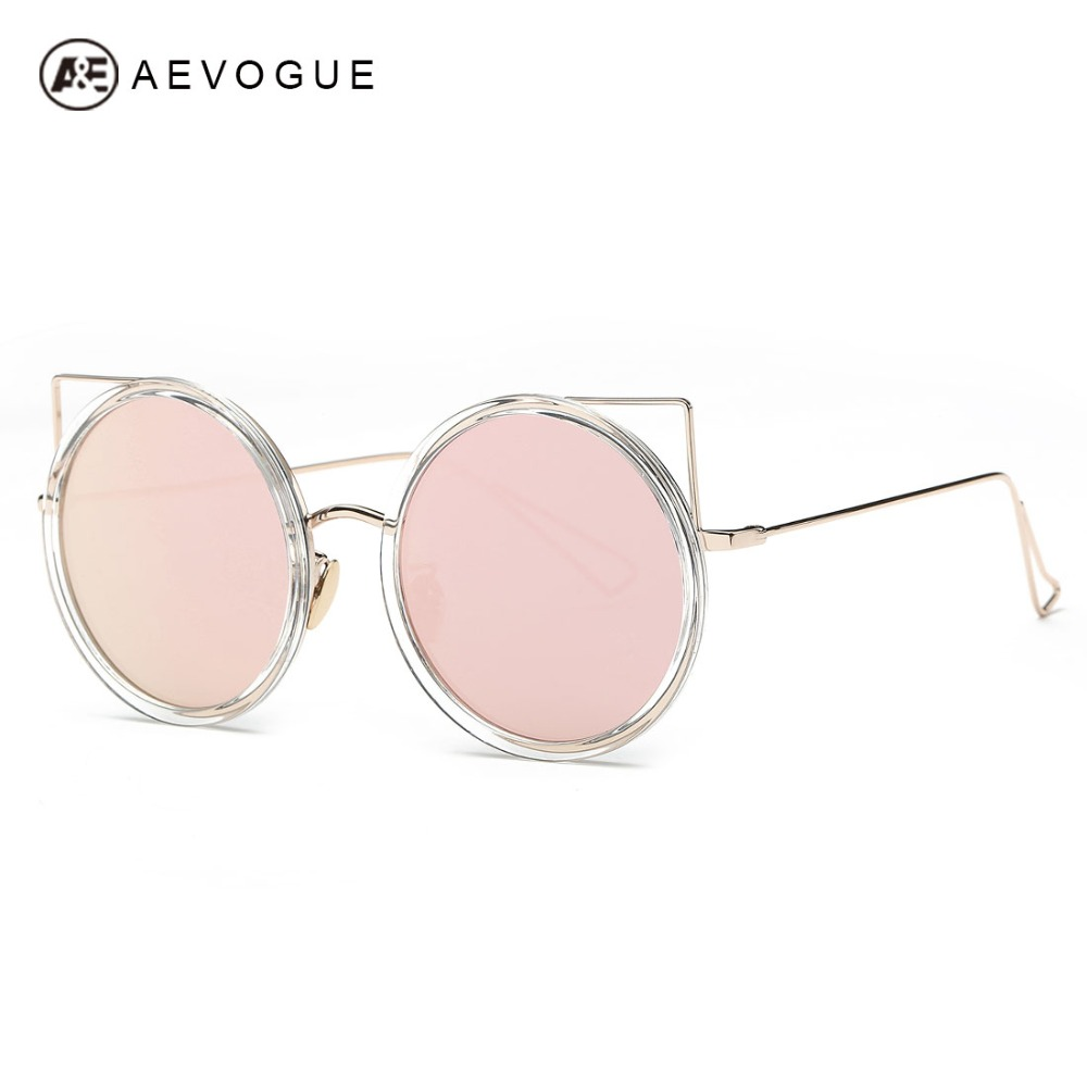 92e1e212cc6a3 AEVOGUE Sunglasses Women Newest Original Brand Designer Copper Frame Cat  Eye Sun Glasses Coating Lens With