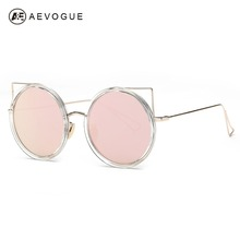 AEVOGUE Sunglasses Women Newest Original Brand Designer Copper Frame Cat Eye Sun Glasses Coating Lens With Box UV400 AE0390