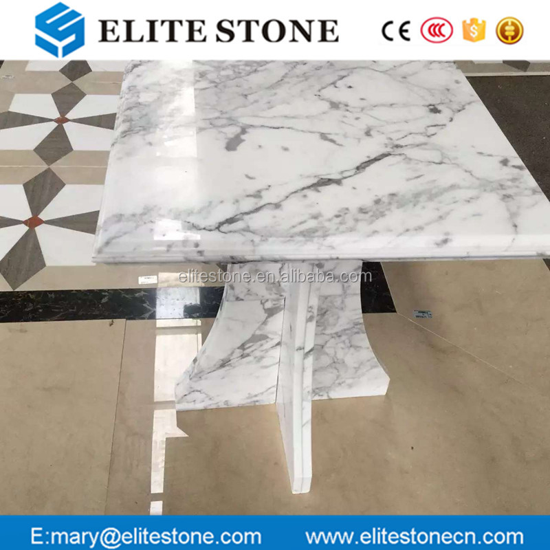 Bianco Carrara White Square Marble top dining table Ogee Edge Coffee Table tops