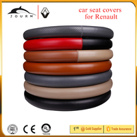Size L Black Real Genuine Leather Steering Wheel Cover With Hole with needle and thread Best Quality for Fluence