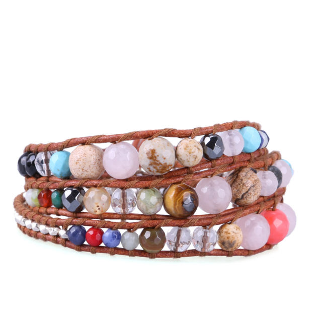 Fashion 3 Wrap Bracelet Colorful Agate Strand Chain Friendship Bangle