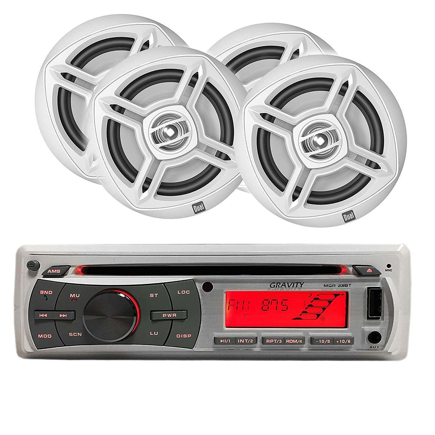 MARINE, YACHT PACKAGE - Gravity MGR-208BT + DMP672 FOUR 6.5 inch Speakers