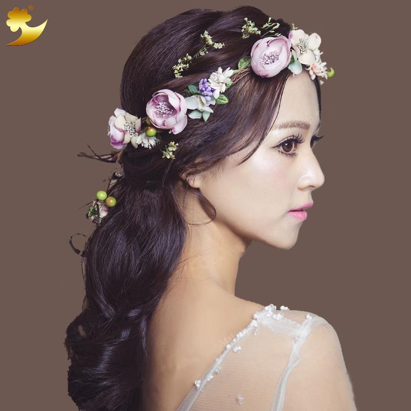Women Bride Flower Crown Floral Wreaths Head Wedding Party Accessories New OW