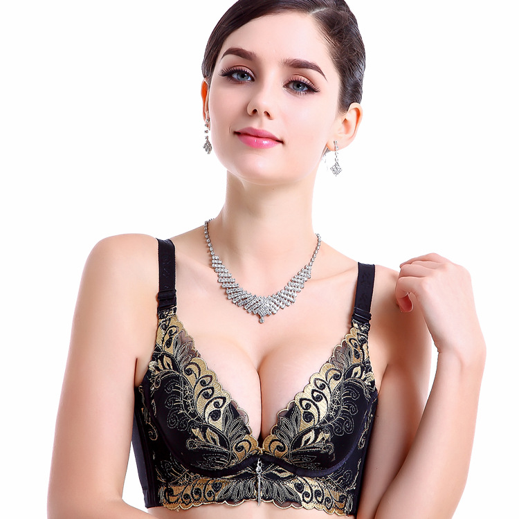 New Women Sexy Double Push Up Bras Seamless Bra Women Push Up Bra Invisible Strapless Print Flower Women Super Lace Push Up Bra