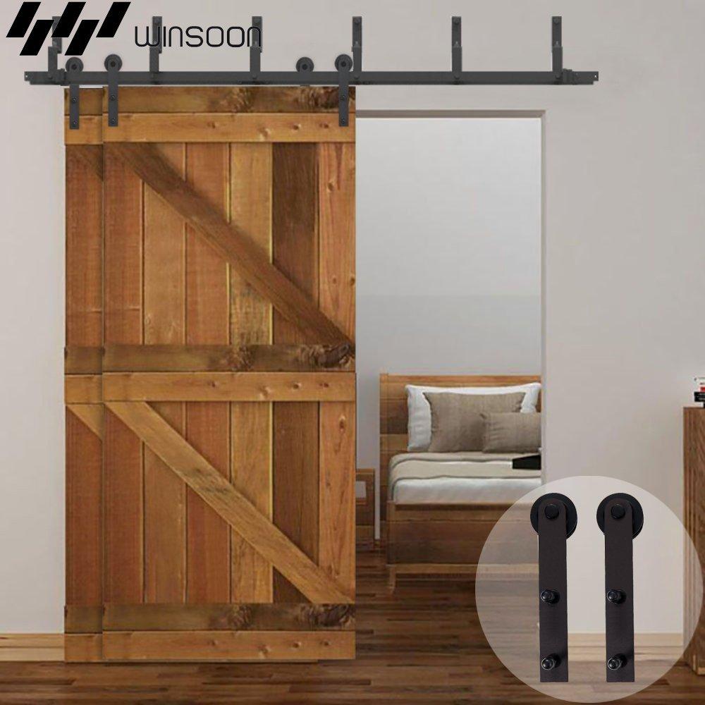 Winsoon door closet decorative straight bracket metal interior barn doors sliding bypass hardware track roller hanging