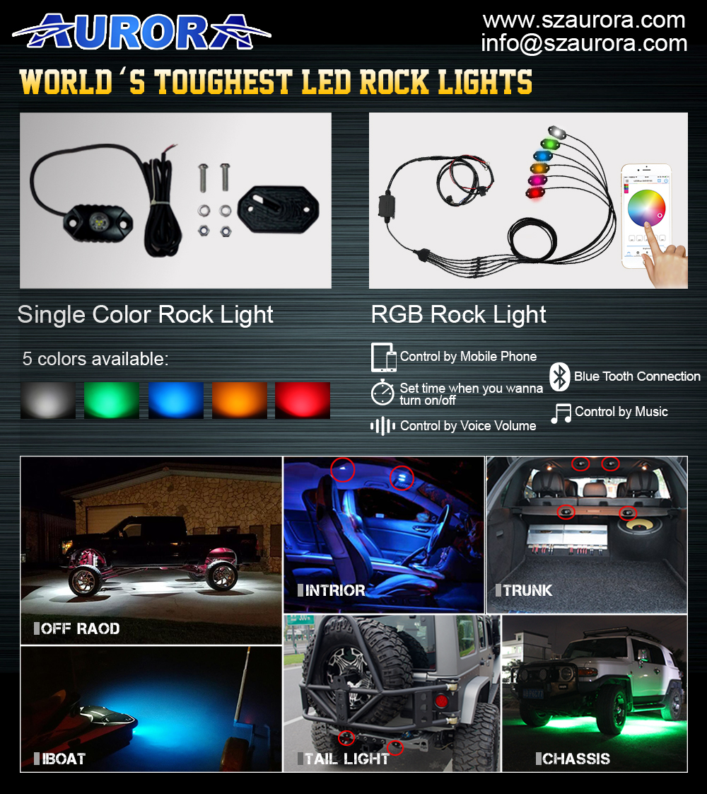 Color Changing Led Round Driving Work Light Bar Rgb Off Road Led Rock Lights High Quality