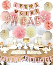 Customized EasternHope Pink Foil Balloons Banner set, Tissue poms and Lanterns, Baby Shower Party Decorations for girls
