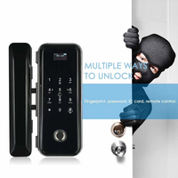 smart Password RFID Card Remote Control digital keypad frameless glass door Fingerprint locks