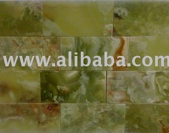 Groene onyx gepolijst metro tegel baksteen patroon keuken