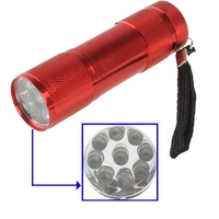 New Wholesale Dropshipping Mini Portable Flashlight 9 LED, 1-Mode, Shifting Switch, with Strap(Red)