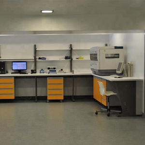 Laboratory design/steel structure island bench with chipboard cabinet