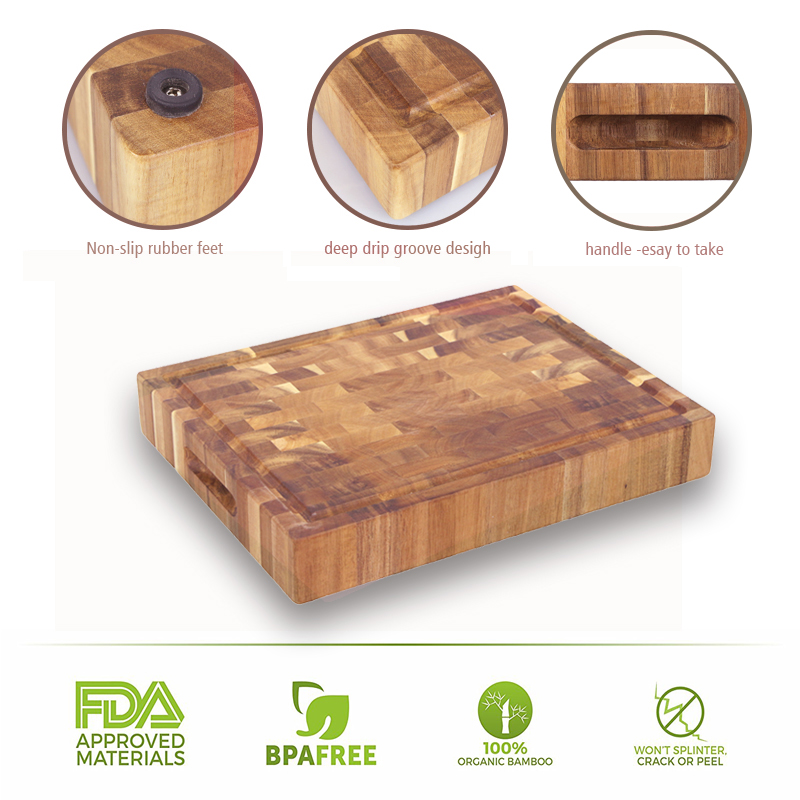 Top quality end grain acacia wood butcher block