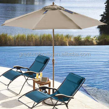 Patio Heavy Duty Lighting LED Umbrella With Solar Powered USB Charge  Function