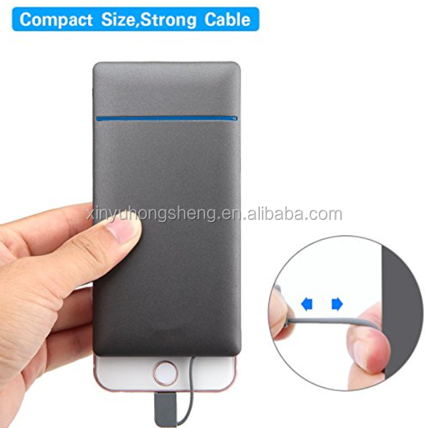 2018 Newest custom logo fast charging Portable power bank 10000mah with built in cable for iPhone for Android