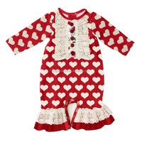 Valentine's Day Baby Girls Newborn Long Sleeve Rompers