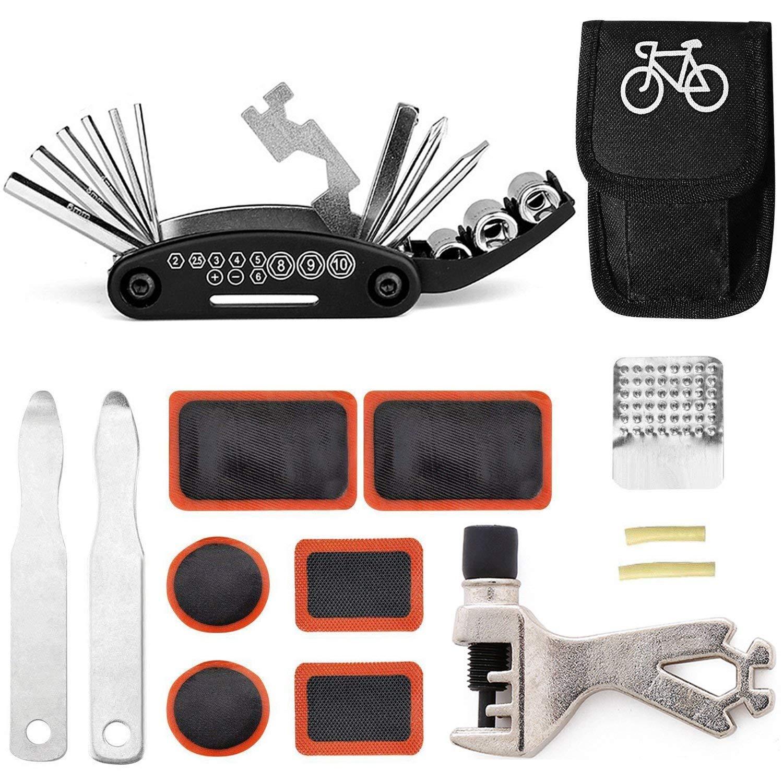 TARWAY Mini Bike Repair Tools Kits - 16 in 1 Bicycle Essential Multi Tools Set, Portable Bike Kit Repair Set, Bike Tool Bicycle Repair Kit Bicycle Tools Tire Patch Levers Bicycles