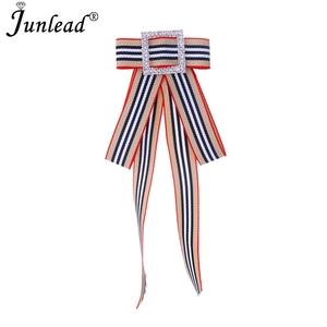 123117ef738 Junlead Fashion Elegent BowKnot Collar Tie Shirts Dress Brooch Jewelry  Stripe Ribbon Fabric Bow Brooch Pins
