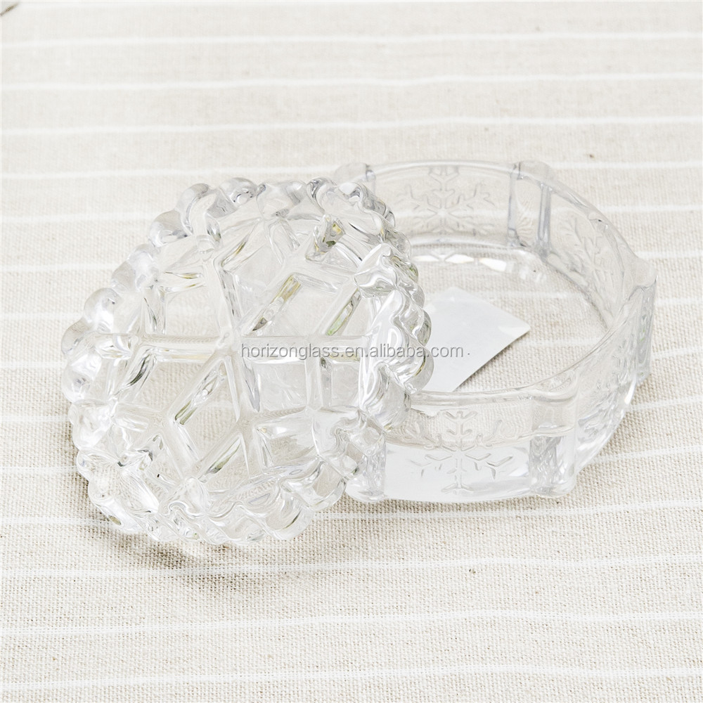 snowflake glass crystal candy/Jewellery bowl /jar /box with lid