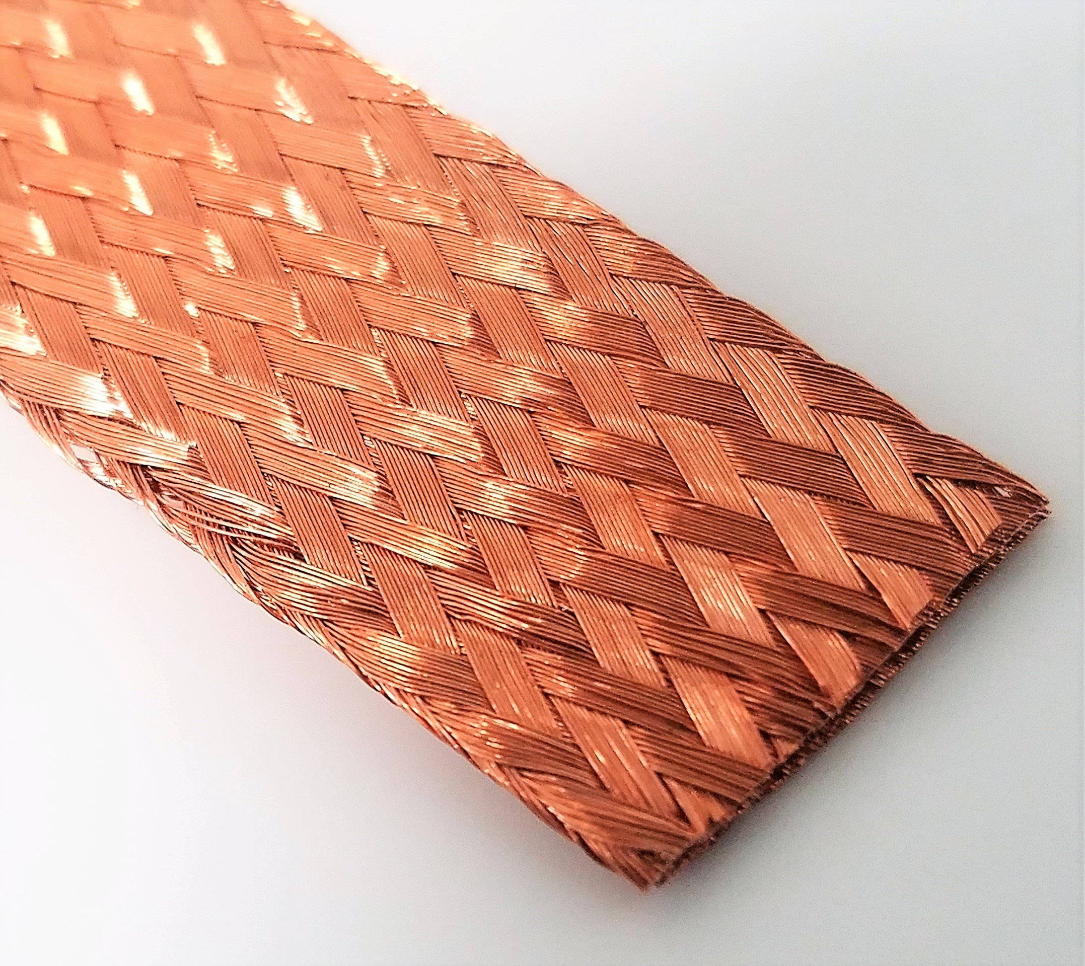 "Flat Bare Copper Braid, Bright, 5/8"" Diameter, 25' Length 5/8"""