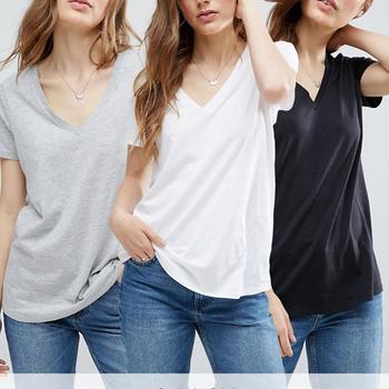 Custom White T Shirt Women Loose V Neck Sexy 100%cotton Plain T-shirts With  Curved Hem - Buy Loose V Neck T-shirt,Cheap Plain White T-shirts,Bulk Plain  White T-shirts Product on Alibaba.com