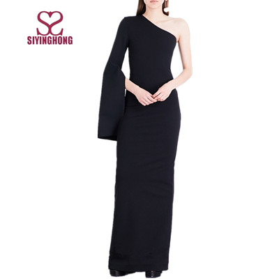 2017 Wholesale one shoulder long sleeve plain black jersey dress maxi dress woman