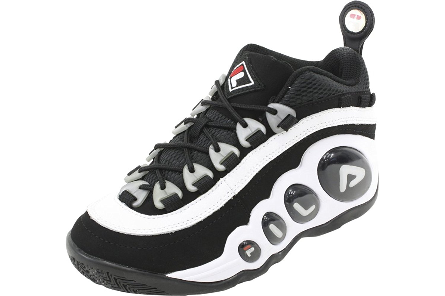 406a84540b15 Get Quotations · Fila Men s Bubbles Hightop White Black Red Basketball Shoes