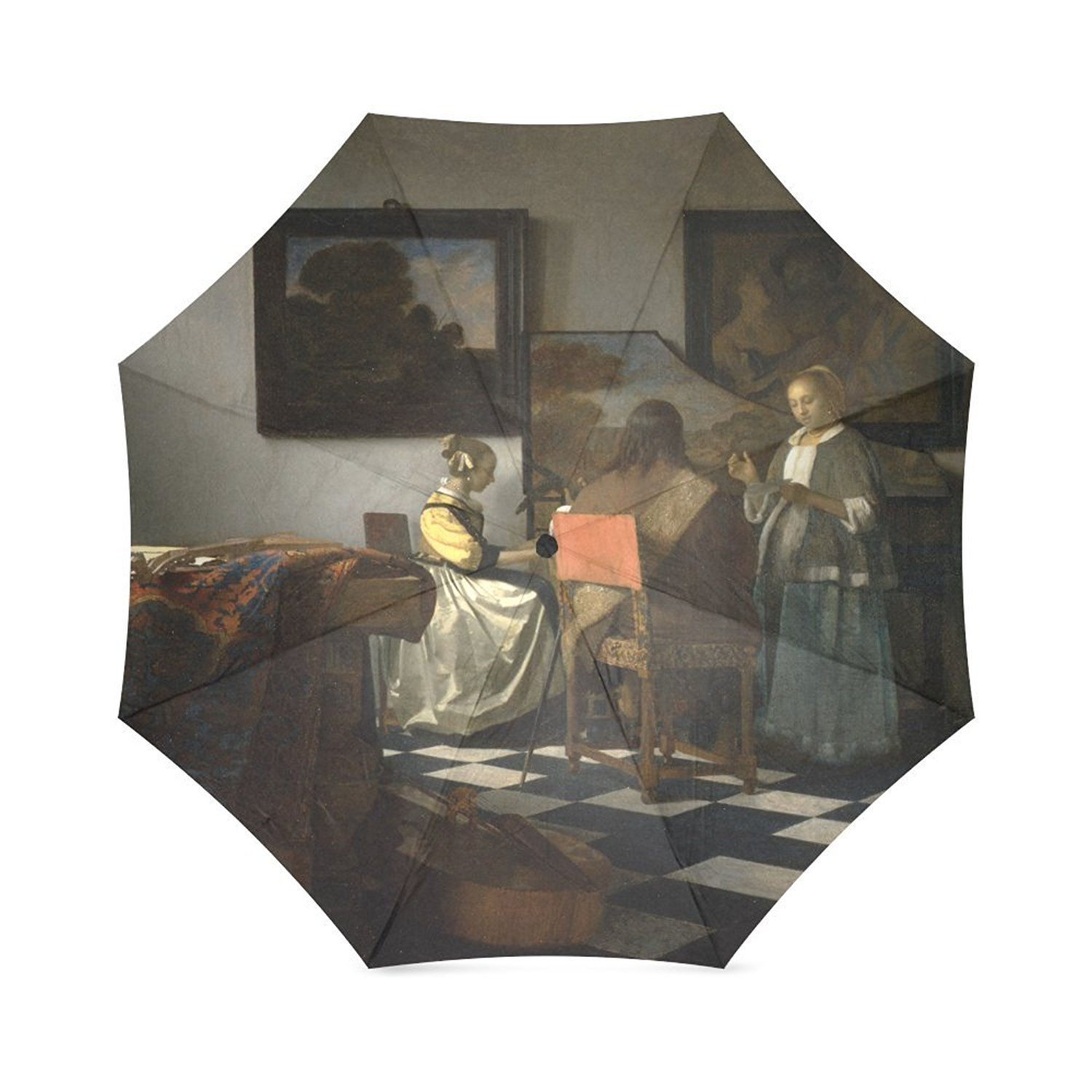 Friends Novelty Birthday Gifts Presents Vermeer, The Concert 100% Fabric And Aluminium Foldable High-quality Umbrella