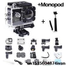New arrive 2016 gopro hero 3 Style Full HD DVR video Sport go pro camera extreme Sport Helmet Action Camera+monopod mini Cam