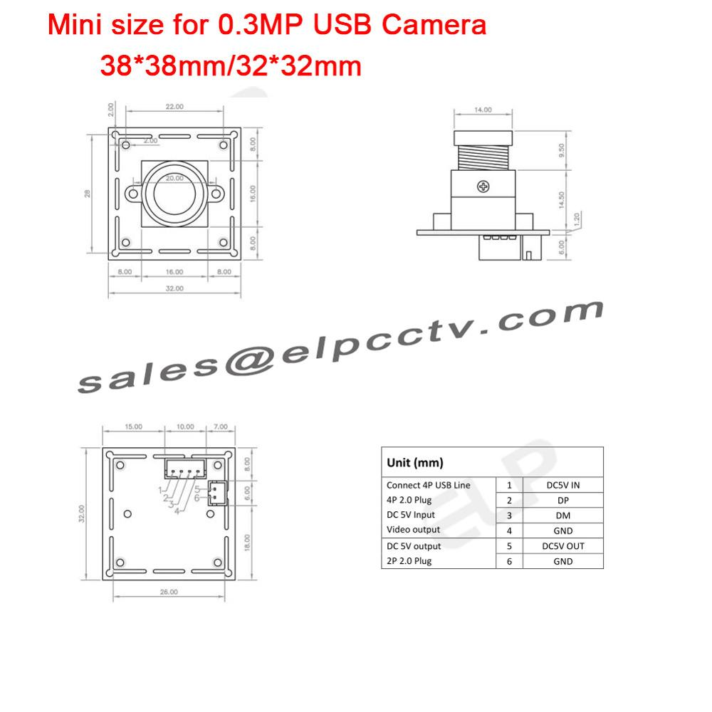 Elp 300k Mini 2626mm Vga Mjpeg Yuy2 Ov7725 Cmos Usb Webcam Wire Diagram Miniature Camera With
