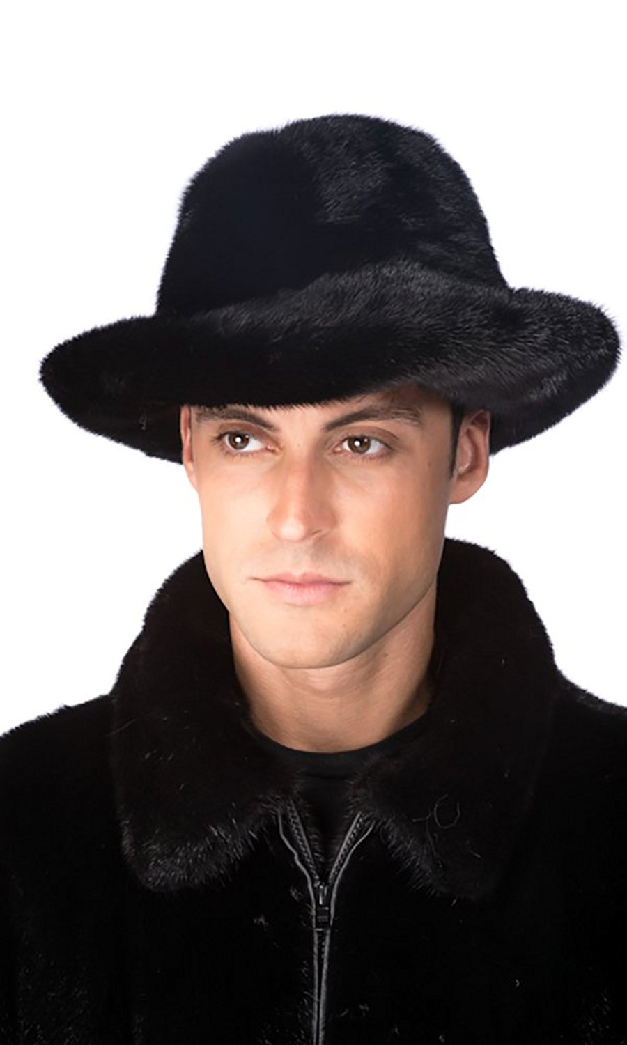 Madison Avenue Mall Mens Real Mink Fur Fedora Hat Men