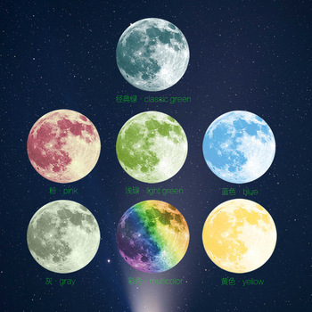 30CM Luminous Night Moon sticker,night glowing PVC Wall Stickers