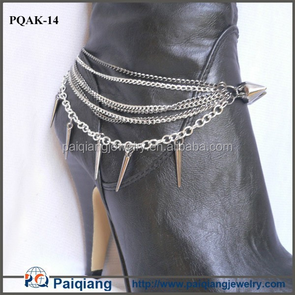 Latest design exaggerated punk spike layered high heel shoe ankle chains
